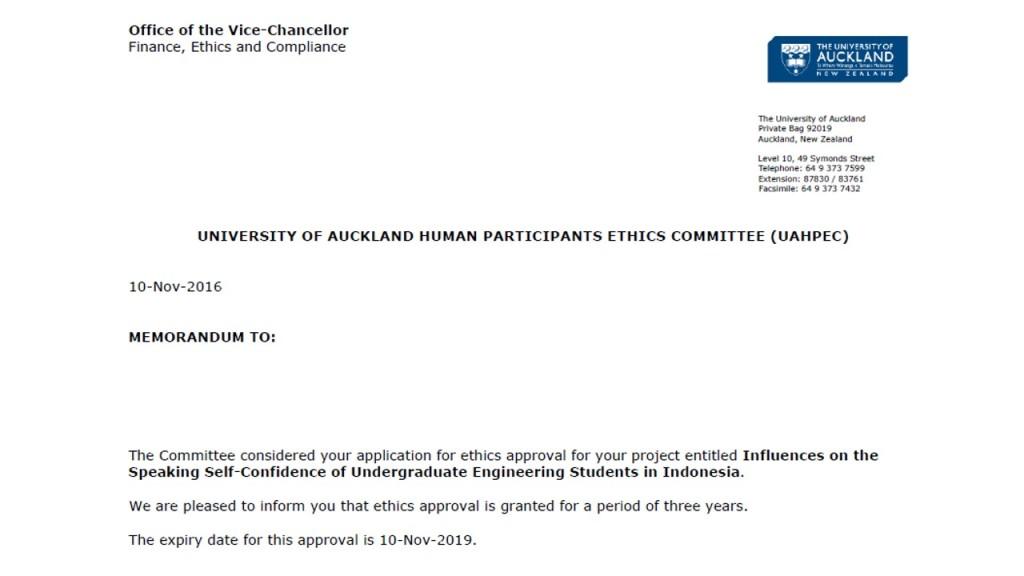 Ethics application outcome