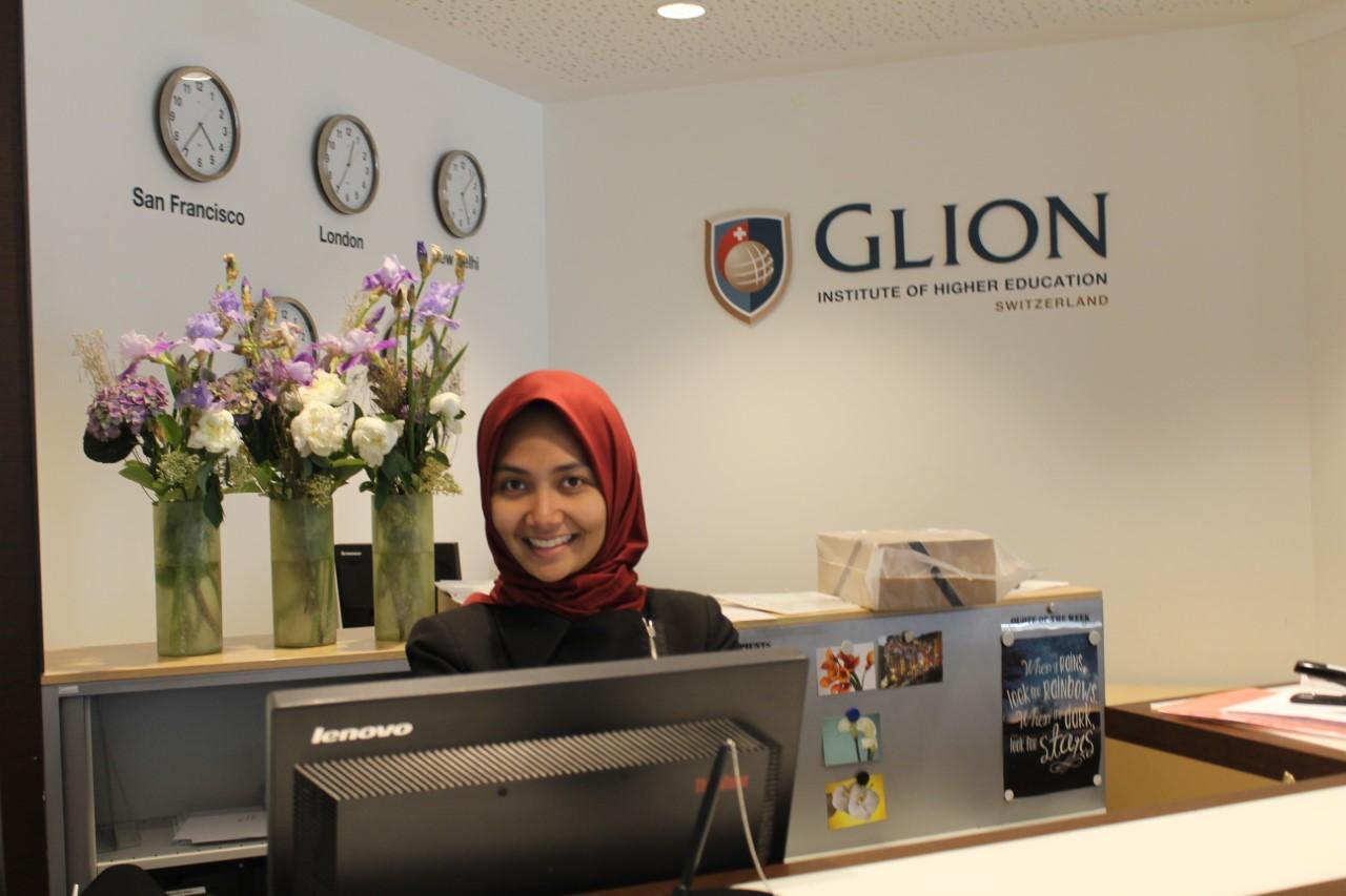 Dianna during her internship programme at Glion Institute of Higher Education Switzerland