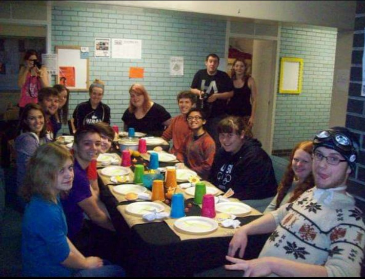 Inef celebrated Thanksgiving in November 2013 with her fellow freshmen dormitory residents at Hiram College.