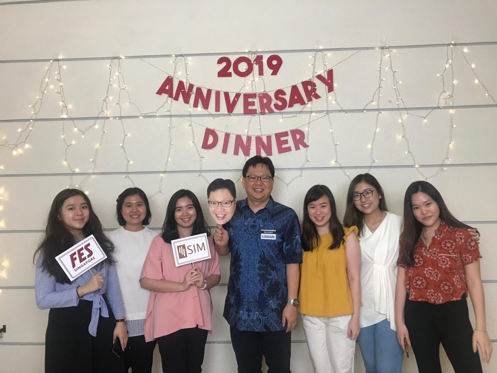 Siska, second from left, with her ISCF friends on FES special anniversary event. (Source: Siska Kristanti Lim)