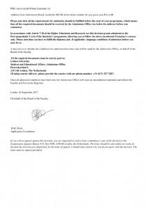 LoA Conditional dari Leiden University yang menyatakan harus menjalani pre-master