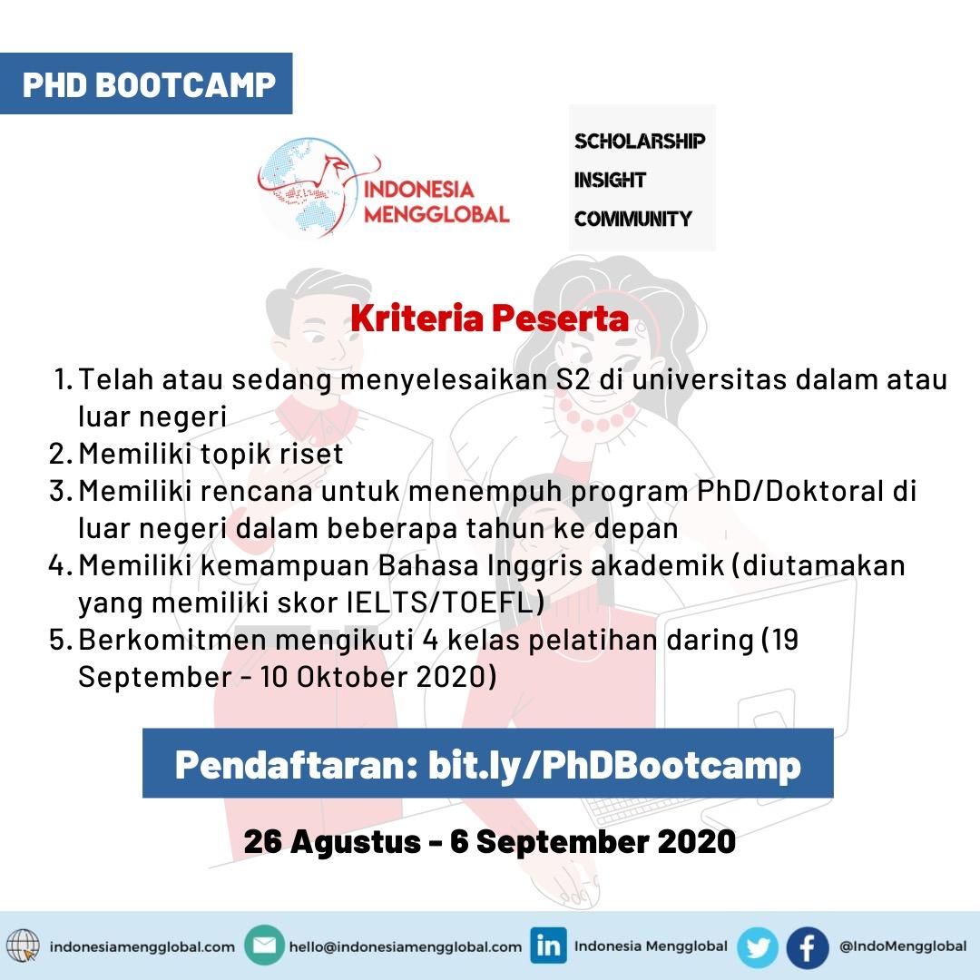 Kriteria Peserta PhD Bootcamp