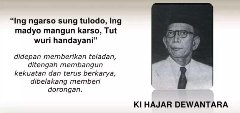 Ki Hajar Dewantara dengan 3 semboyan yang terkenal di dunia pendidikan. Sumber: Website Dosen Pendidikan