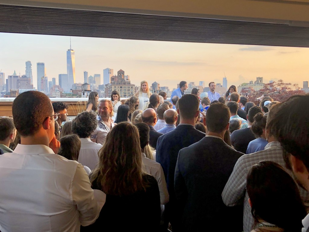 The kind of gathering I mentioned with super cool folks with an even cooler (real) backdrop of the New York skyline.
