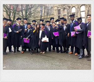 Khairul Ikhwan with his classmates during graduation day at the University of Manchester, UK