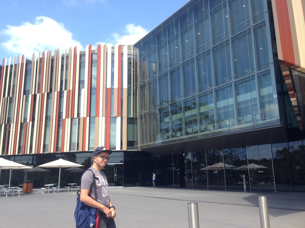 In front of Macquarie University Library, Sydney. Source: Personal documentation