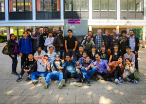 Khairul Ikhwan with his classmates at the University of Manchester on the last day of exams