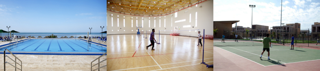 KAUST Recreation facilities are ranging from swimming pool to tennis court. All KAUST residents can book the facilities for free. (Source: KAUST Website)