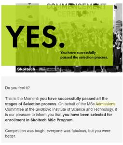 Screenshot email yang kamu terima jika lolos semua tahapan seleksi Skoltech. Sumber: dokumentasi pribadi.