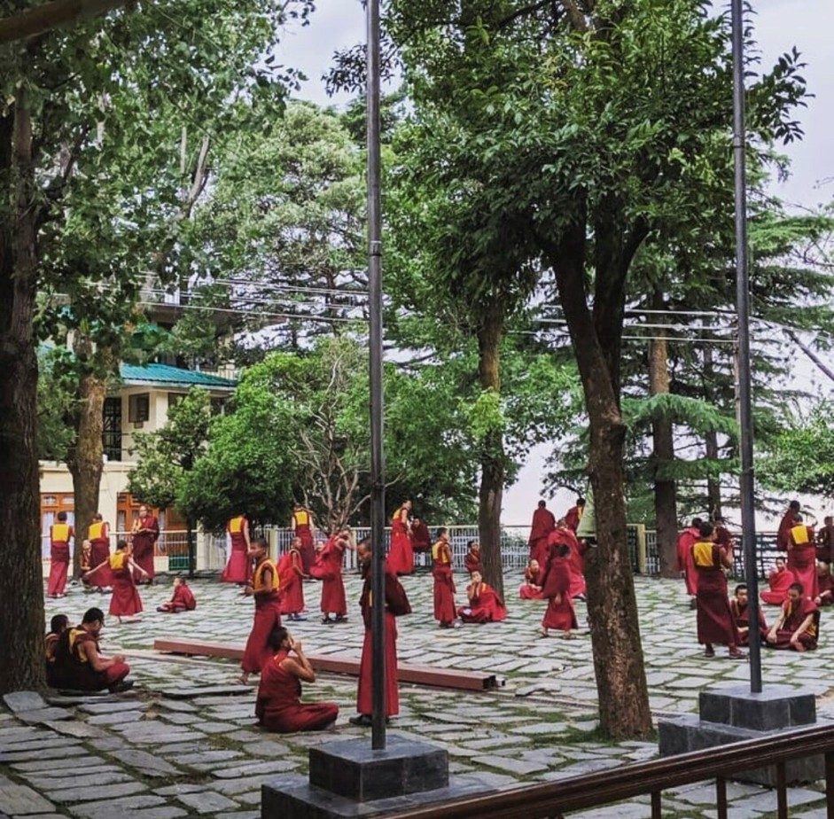 Main Temple of His Holiness Dalai Lama - Tibetan monks is debating – this is one of the way of studying in Tibetan Monastic. Debate is to sharpen your intelligence and logic!