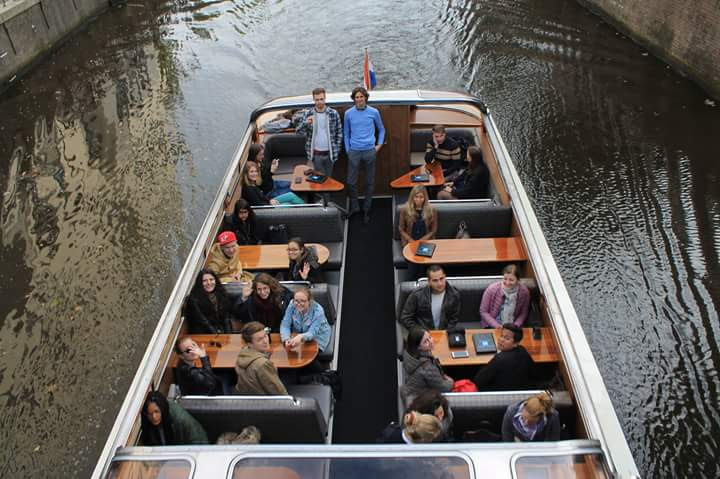 Canal cruising in Groningen during the Introduction Week for the Faculty of Law students