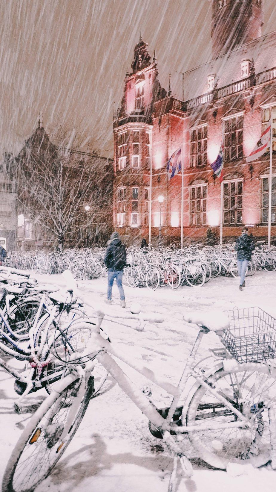 University of Groningen covered in snow