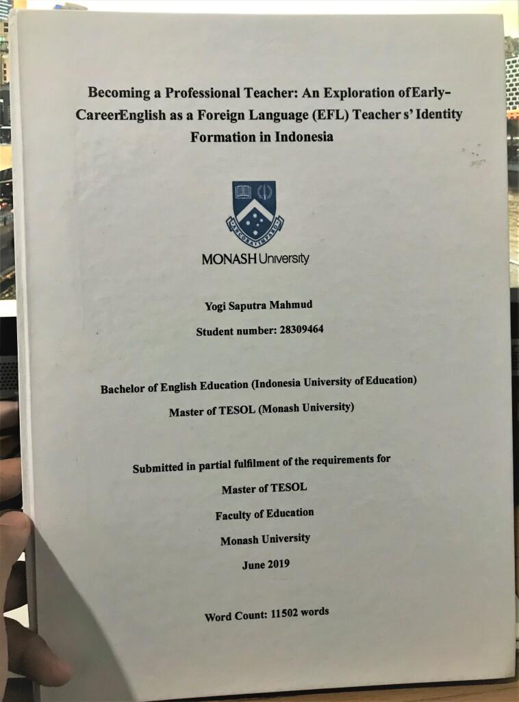 Yogi's mini thesis at Monash University, Australia. Source: Personal documentation