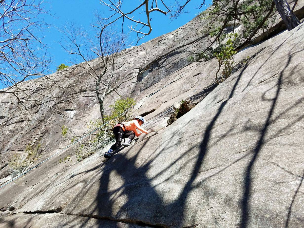 Inef went rock climbing in Pisgah National Forest.