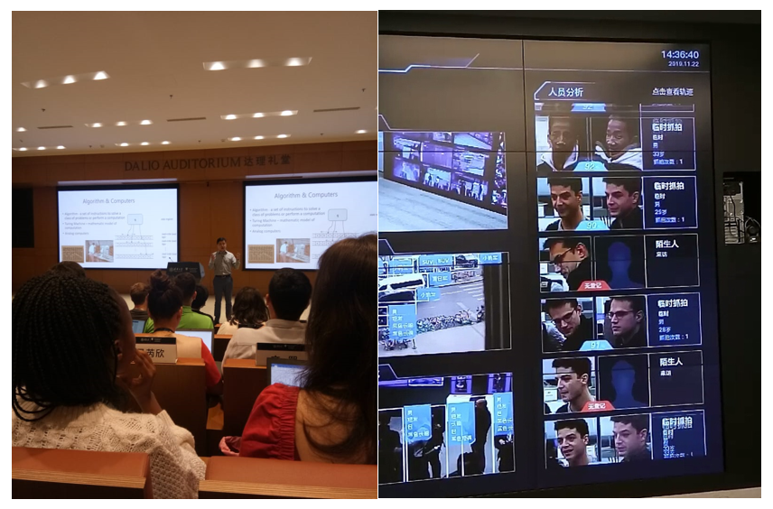Left: Classroom at Tsinghua University, Right: Company visit at MEGVII (Identity detector for national security). (Source: Author)