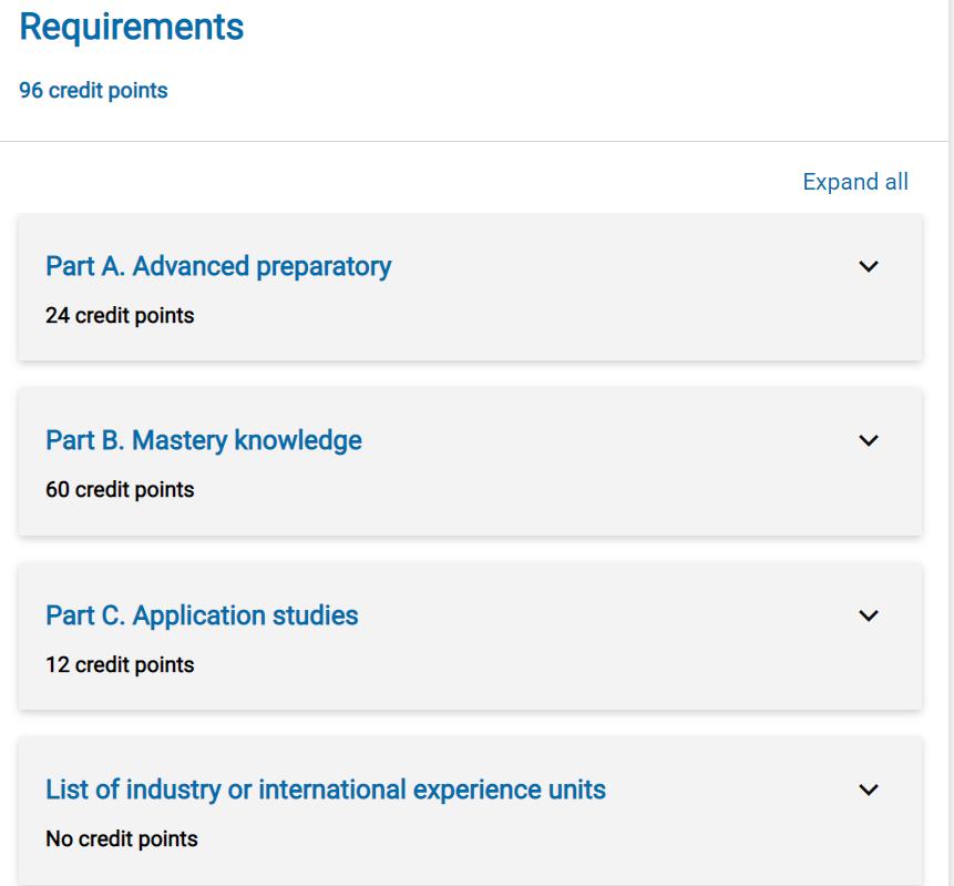 Master of Business course progression. Source: Monash University