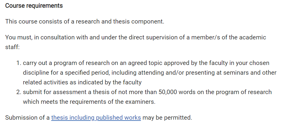 Master of Engineering Science course requirements. Source: Monash University