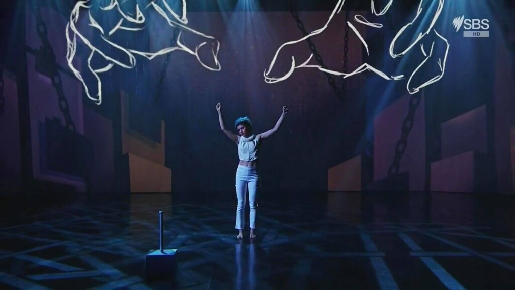 Montaigne's EuroVision performance with animated visuals. Source: SBS