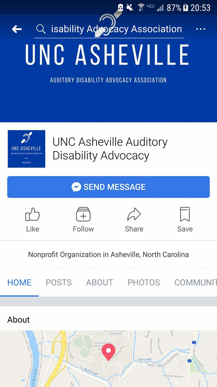 UNC Asheville is a disability-friendly campus and has several student organizations catering to the need of its small community of students with disabilities. UNCA Auditory Disability Advocacy is only one example of such student groups.