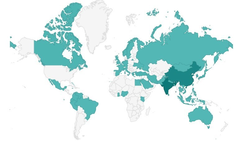 Kewarganegaraan Mahasiswa dan Tenaga Pengajar Internasional SUNY University at Buffalo (Sumber: collegefactual.com)