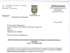 Received LoA from Universiti Brunei Darussalam