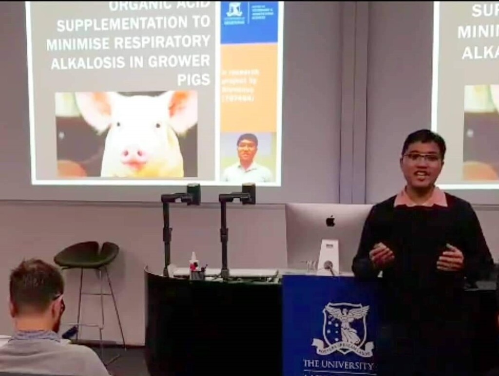 Stevanus presenting a project at The University of Melbourne. Source: Personal documentation