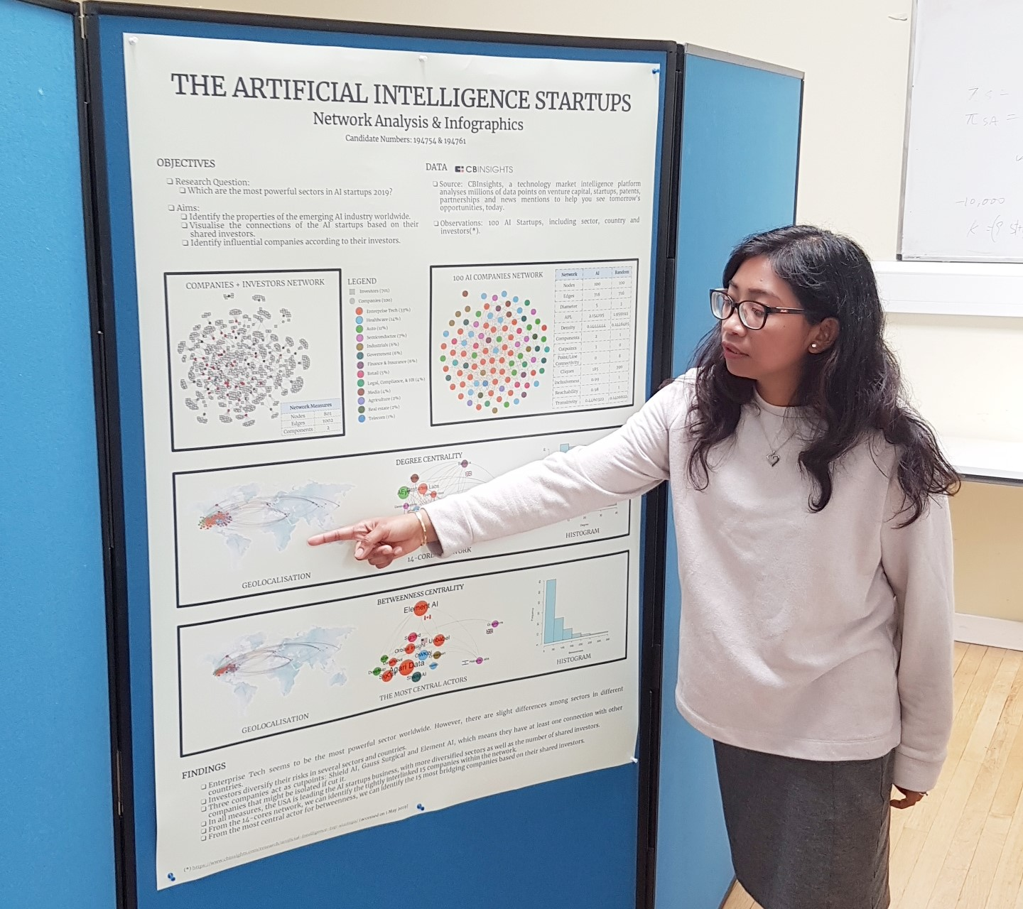 The author was presenting her poster in the Network and Analysis Infographic class.