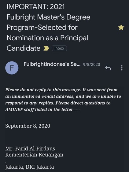 Screenshot email penetapan principal candidacy Beasiswa Fulbright 2020