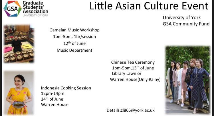 Poster project demo masak soto beserta lokakarya gamelan dan demo minum teh Tiongkok yang didukung oleh GSA pada bulan Juni 2017