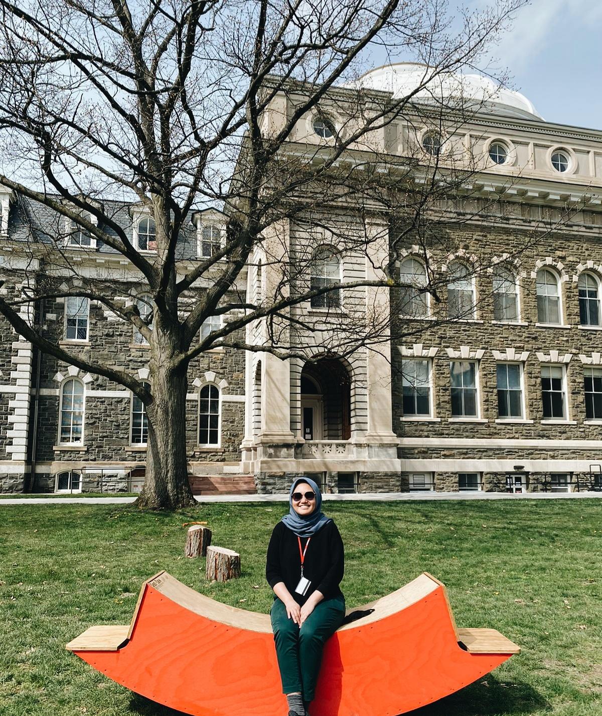 Raisa spent a sunny day on the Cornell's Art Quad.