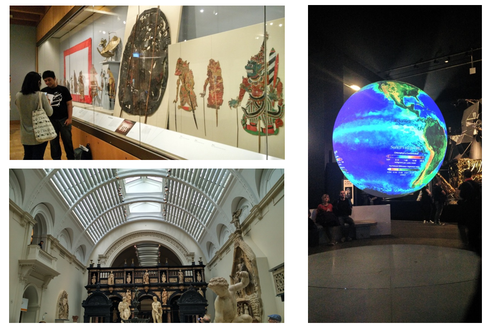 Wayang at British Museum (top left), Victoria and Albert Museum (bottom left) and one of the art and science work at Science Museum (right)