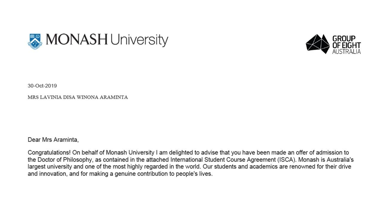 Offer of Admission untuk program PhD in Education di Monash University. Sumber: Dokumentasi pribadi
