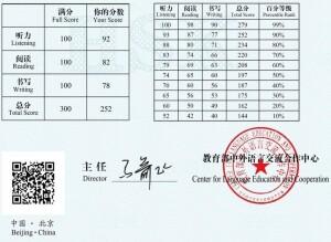 Sita's HSK level 6 test scores, 2021
