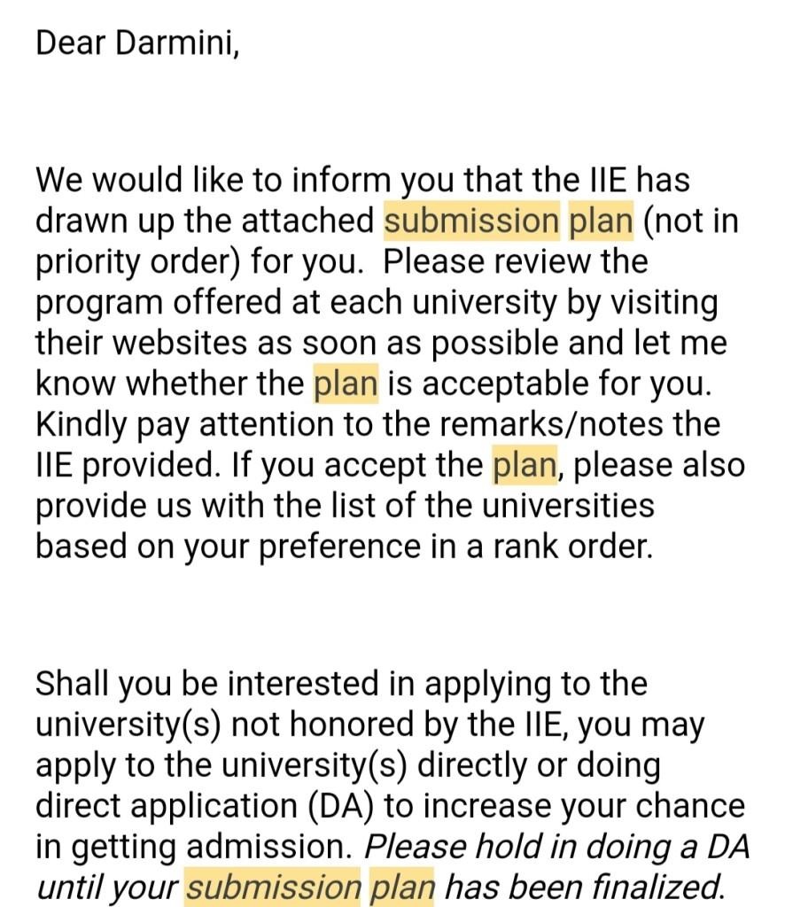 Email pemberitahuan Submission Plan dari IEE (penulis)