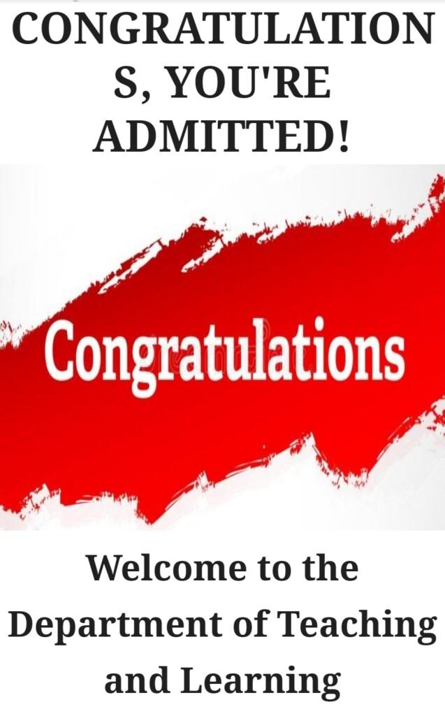 Ucapan selamat setelah proses shortfall berakhir, sekaligus menyatakan bahwa saya resmi diterima di universitas pilihan pertama saya (penulis)