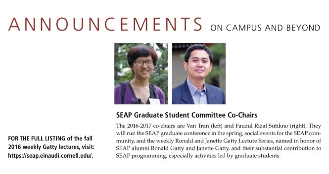 Van dan saya sebagai student co-chairs. (SEAP Bulletin)