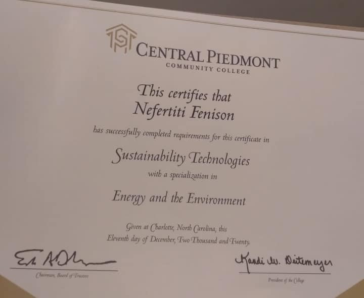A certificate from community college