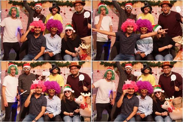Yoga merayakan Natal Bersama dengan teman satu tim-nya di DLR, sebelum pandemi Covid-19