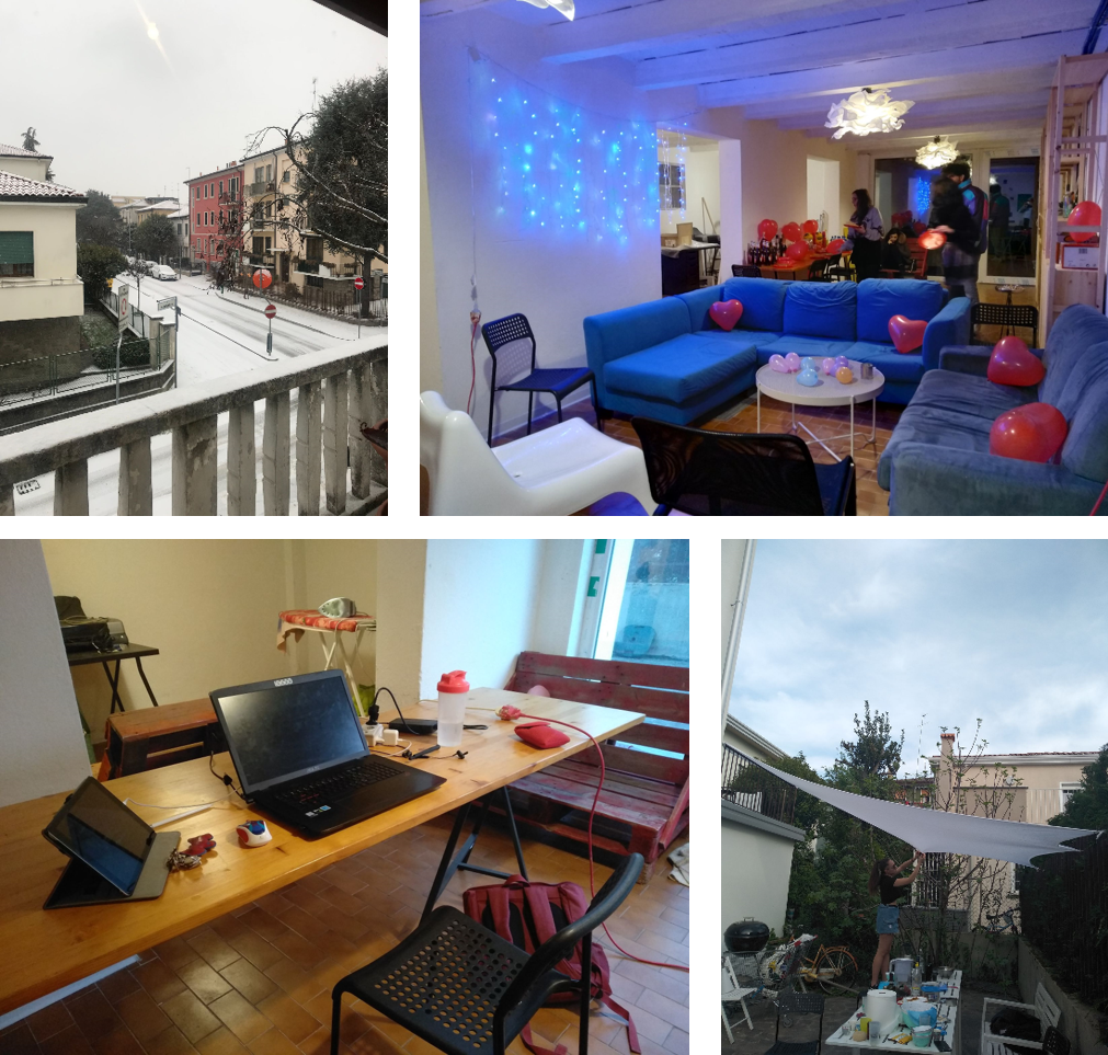 View from the balcony of my first house in Padova (top left), basement of my second apartment (top right), my working station during COVID-19 lockdown in the basement (bottom left), and garden where my housemates and I had lunches during COVID-19 lockdown (bottom right)