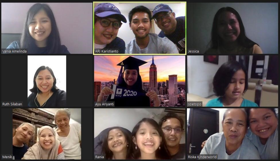 My friends and family during my online graduation