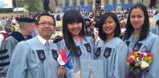 Grace (second from left) posed with her fellow graduates from Teachers College, Columbia University, New York.