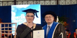 Stevanus during graduation ceremony at The University of Melbourne. Source: Personal documentation