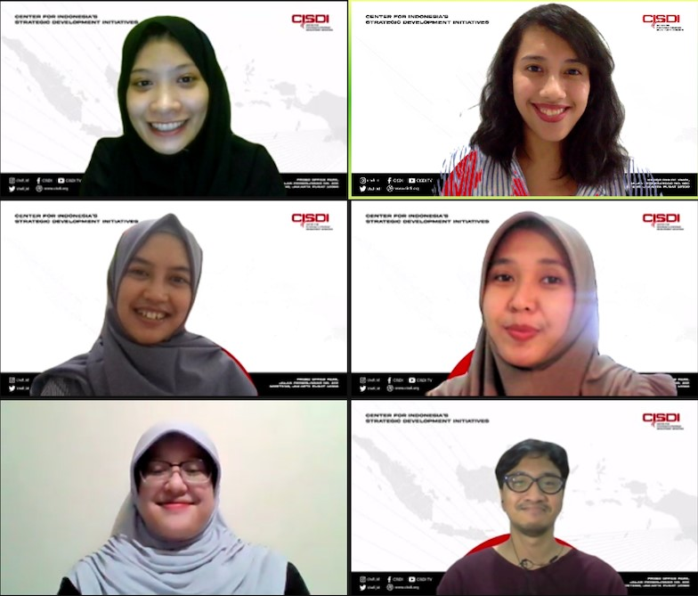 Me and my colleagues at the Center for Indonesia's Strategic Development Initiatives (CISDI). From top left to right: Calista Segalita, Ayu Ariyanti, Gita Kusnadi, Adrianna Bella, Ardiani Audwina, Rudra Ardiyase