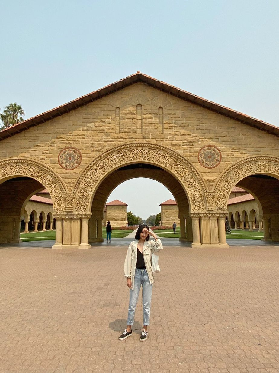 Nadira on the Stanford campus' ground.