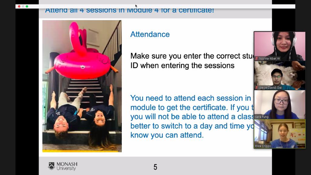Nisrina saat mengikuti sesi English Connect di Monash University. Sumber: Dokumentasi pribadi