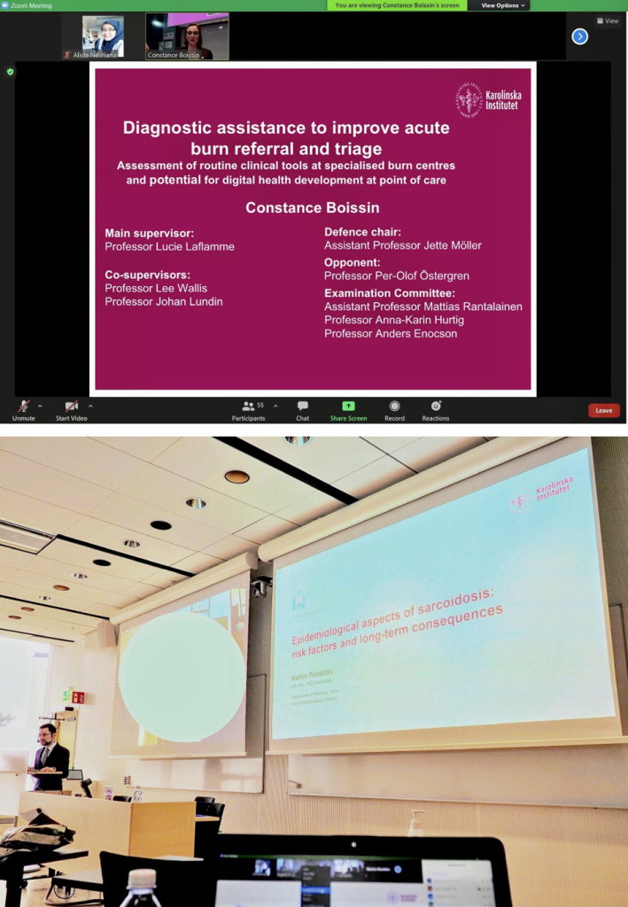 Attending my friends' thesis defence: online (above) and on campus (below). To minimise the risk of crowding, nowadays the PhD students usually made a list of people who might attend the defence on campus in advance. In my friend's case (below), only the defence chair, supervisors, one board member, and I attended on site.