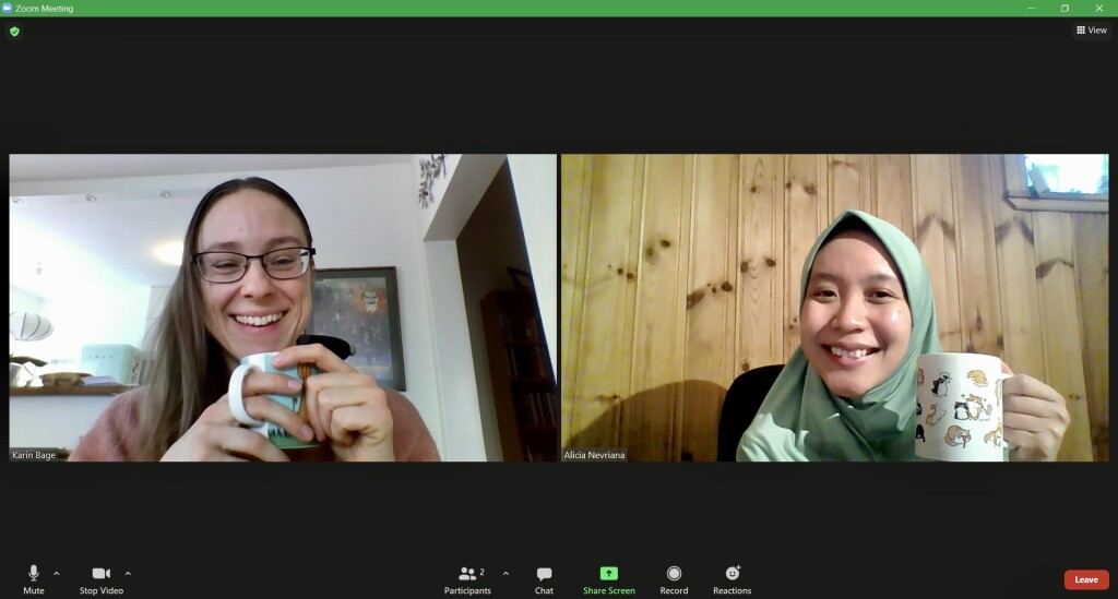 My friend and I - planning for the online fika for spring 2021.