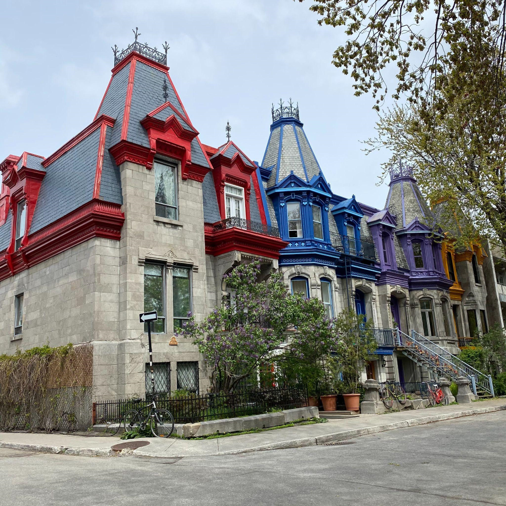 Colourful houses and empty streets at Square St. Louis, Montreal during the COVID-19 pandemic