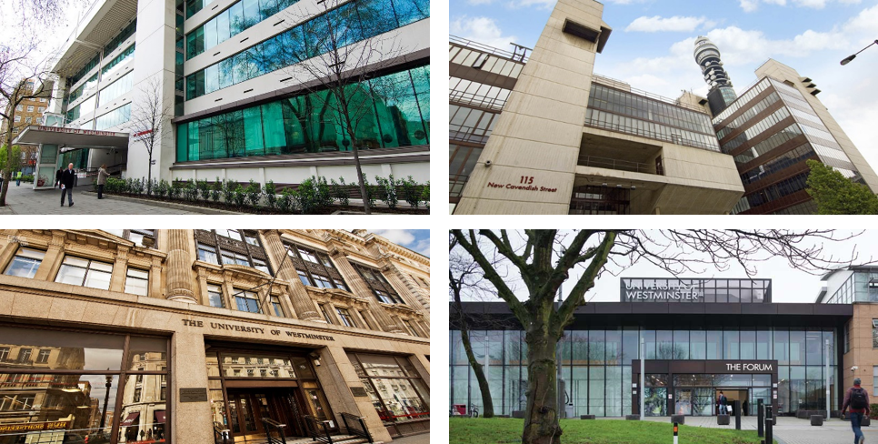 Campus of UoW: Marylebone (top left); Cavendish (top right); Regent (bottom left); and Harrow (bottom right)