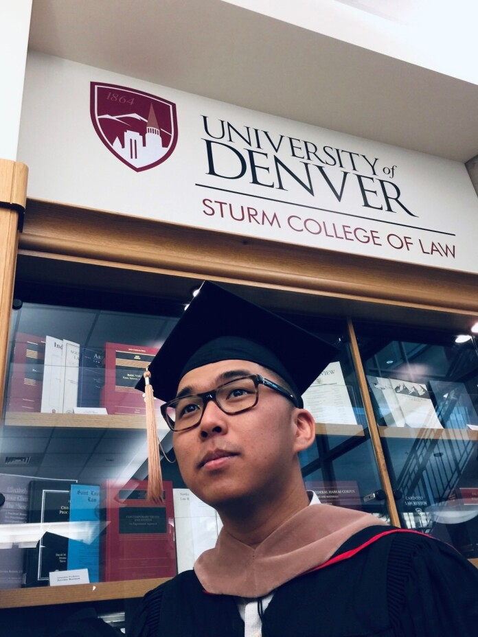 Kenneth graduated from his law school in Denver in 2016